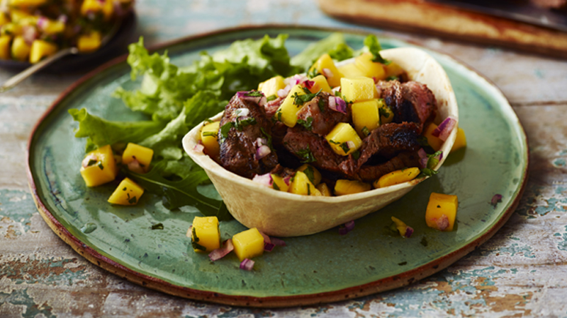 steak taco with mango salsa