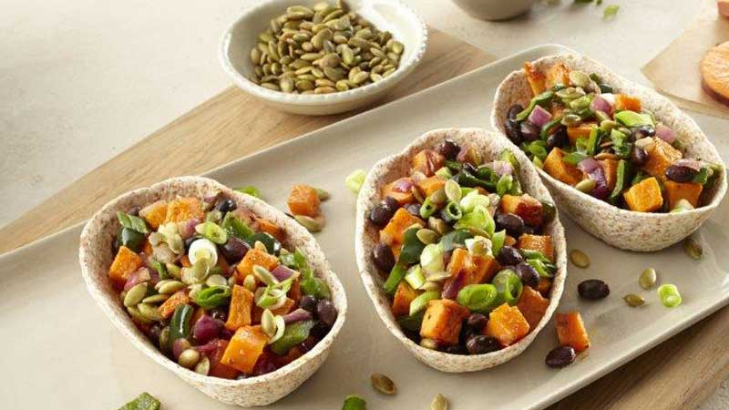 sweet potato and black bean whole wheat tacos